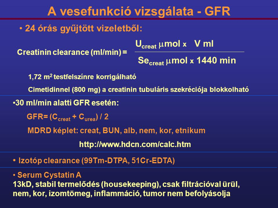 A vesefunkció vizsgálata - GFR