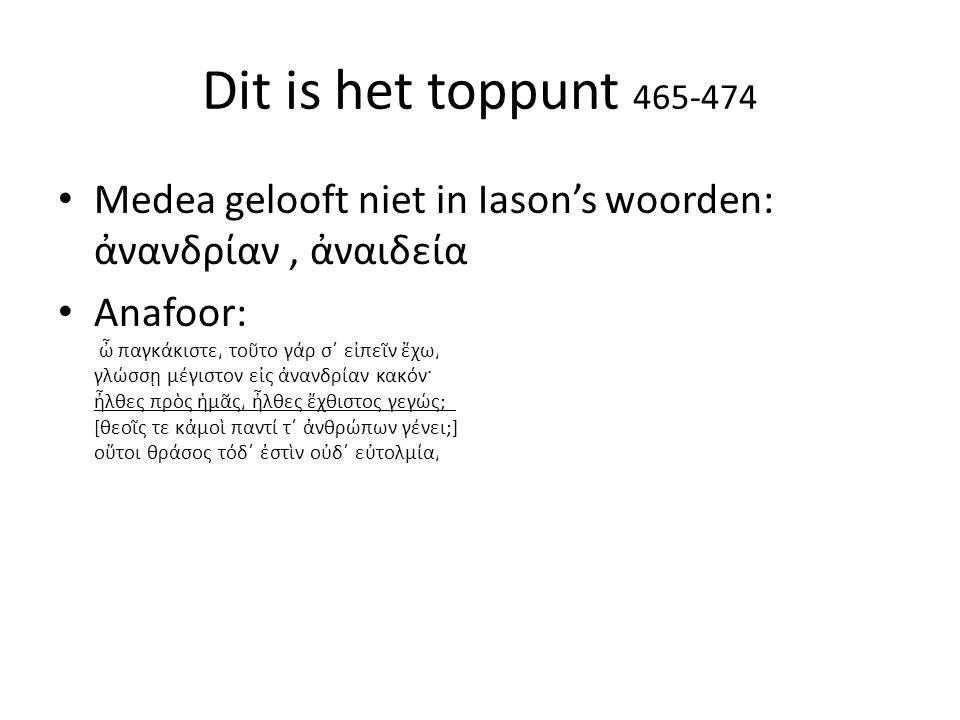 Dit is het toppunt 465-474 Medea gelooft niet in Iason's woorden: ἀνανδρίαν , ἀναιδεία.