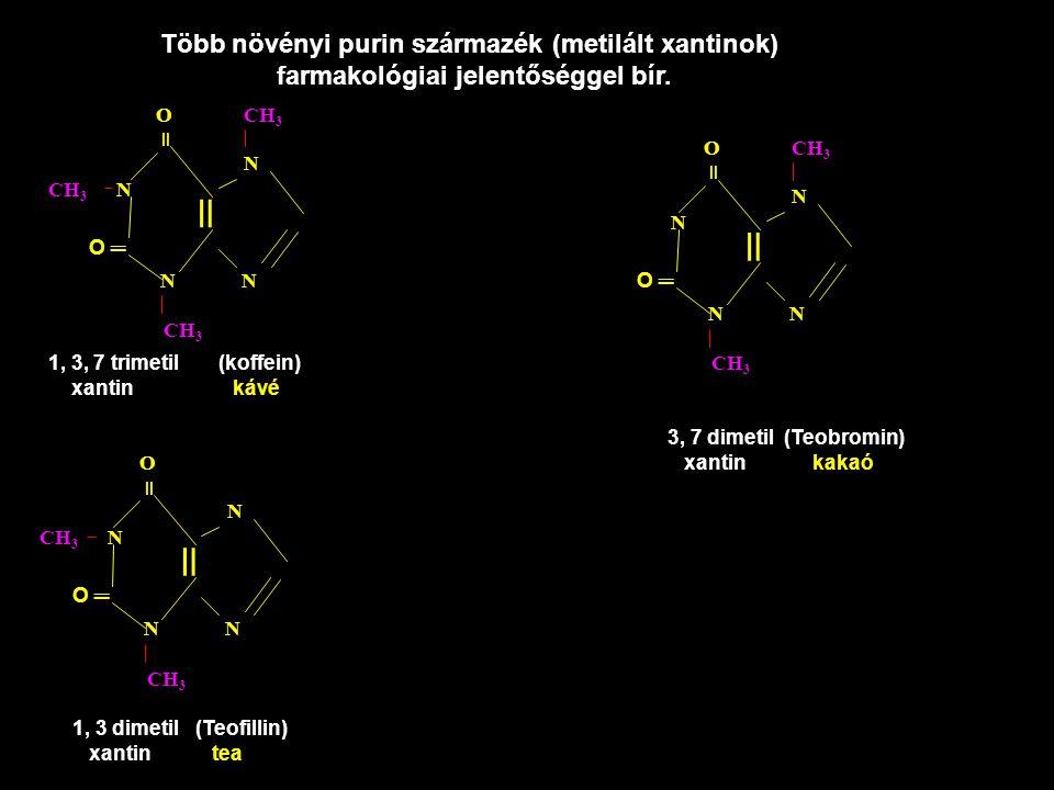 = = = Több növényi purin származék (metilált xantinok)