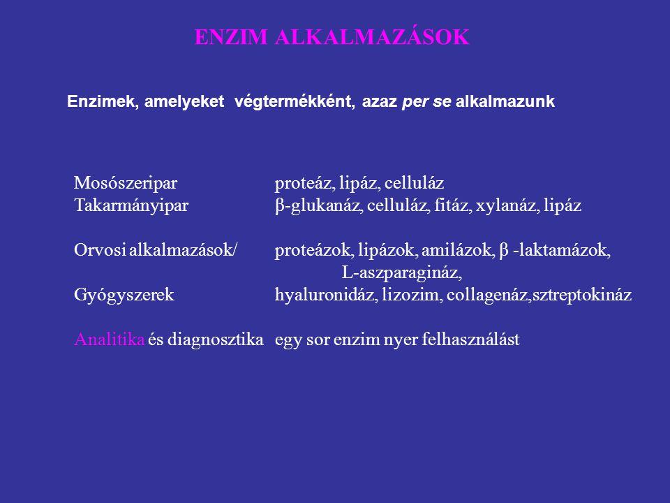 ENZIM ALKALMAZÁSOK Mosószeripar proteáz, lipáz, celluláz