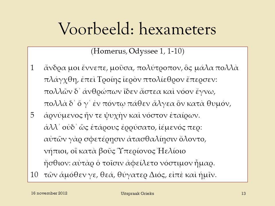 Voorbeeld: hexameters