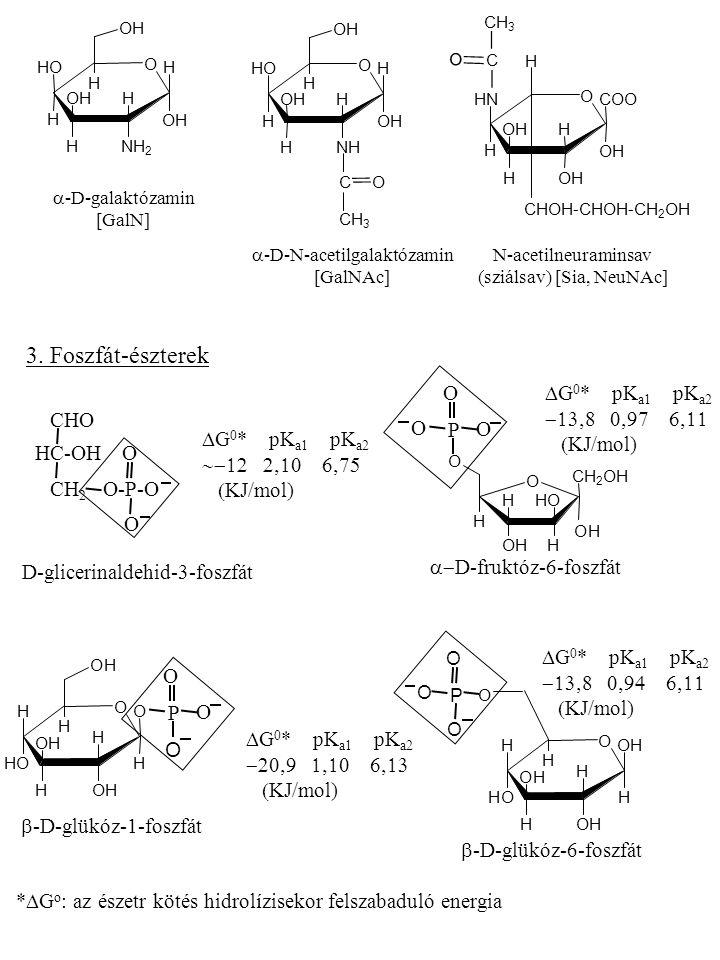 3. Foszfát-észterek DG0* pKa1 pKa2 -13,8 0,97 6,11 CHO (KJ/mol) P