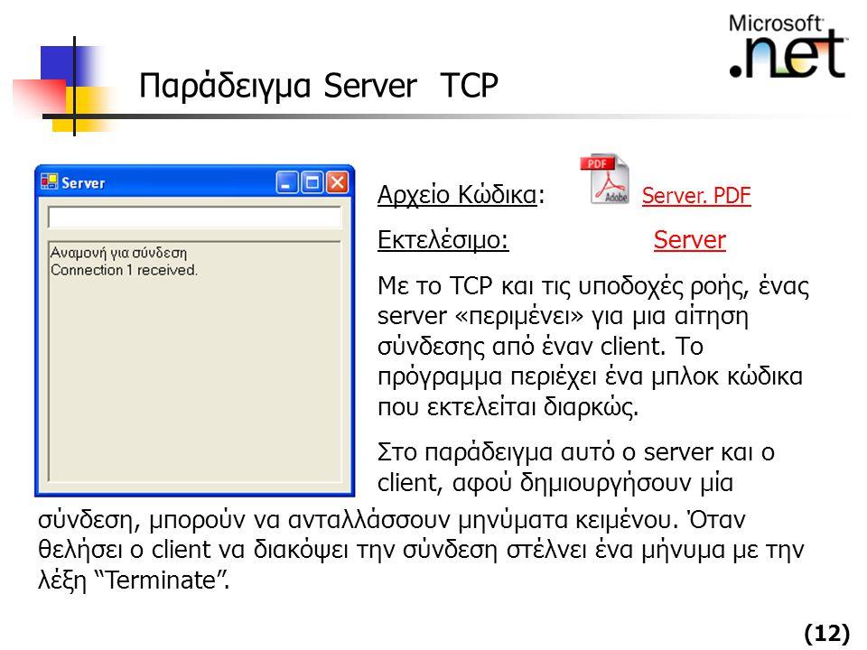 Παράδειγμα Server TCP Αρχείο Κώδικα: Server. PDF Εκτελέσιμο: Server