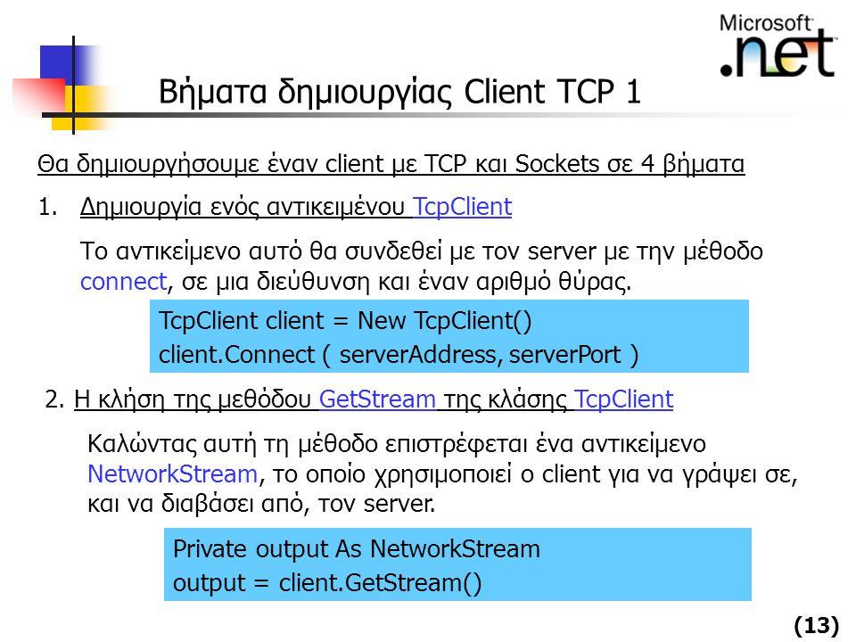 Βήματα δημιουργίας Client TCP 1