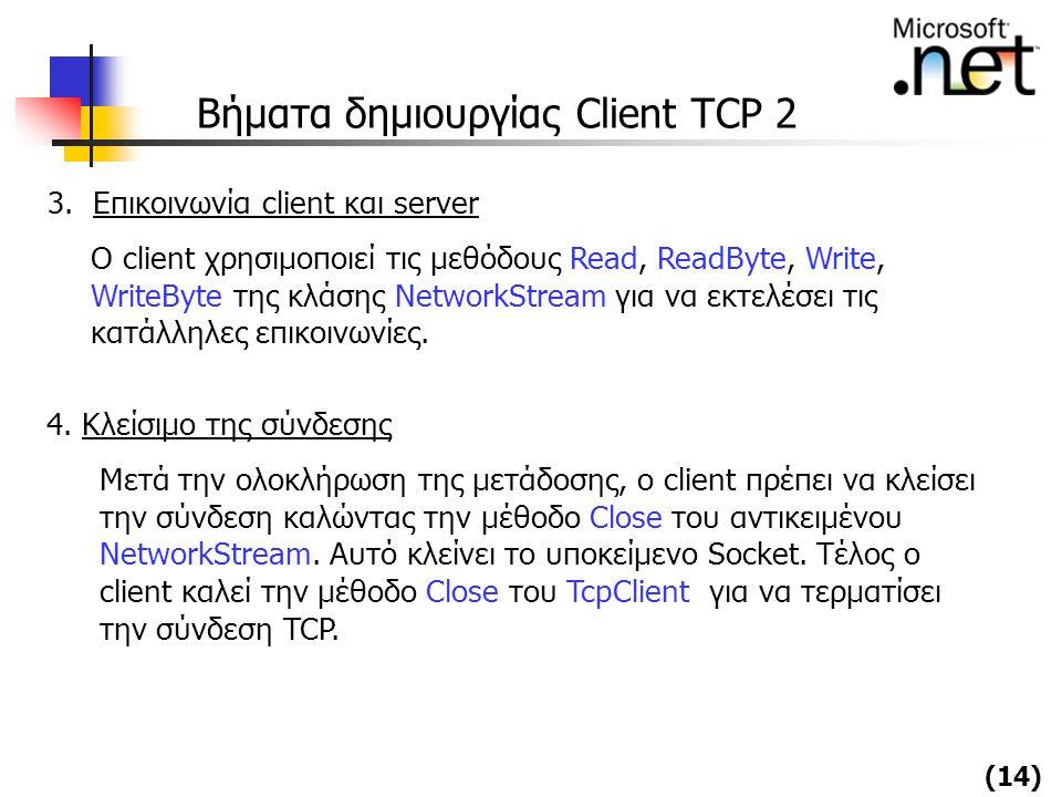 Βήματα δημιουργίας Client TCP 2