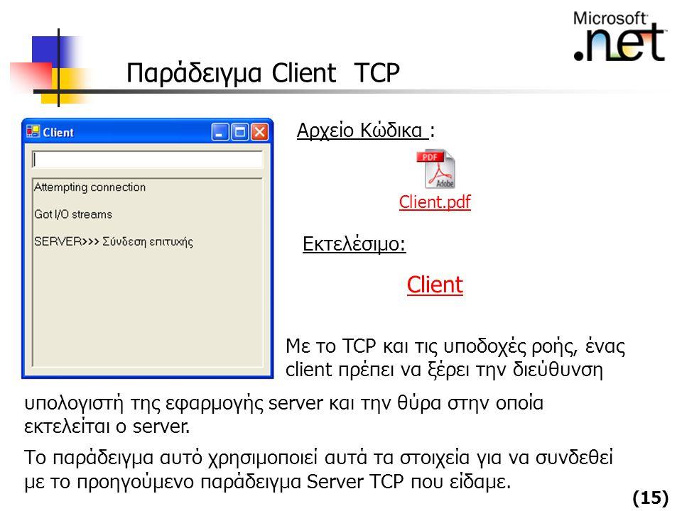 Παράδειγμα Client TCP Client Αρχείο Κώδικα : Εκτελέσιμο: