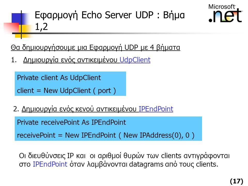 Εφαρμογή Echo Server UDP : Βήμα 1,2