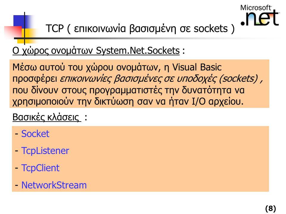 TCP ( επικοινωνία βασισμένη σε sockets )