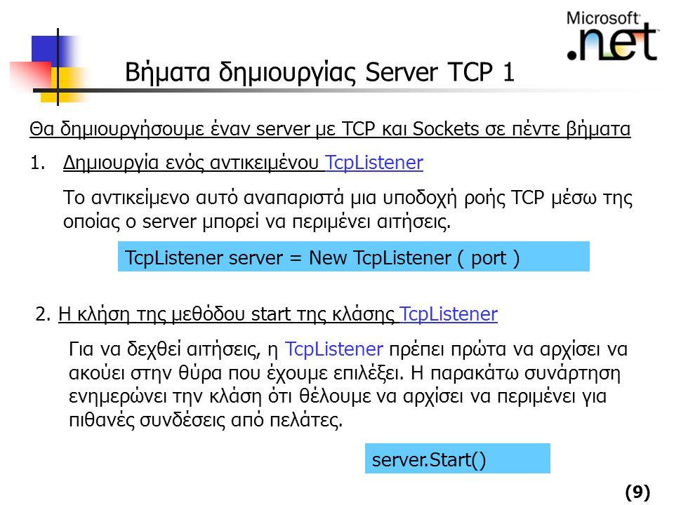 Βήματα δημιουργίας Server TCP 1