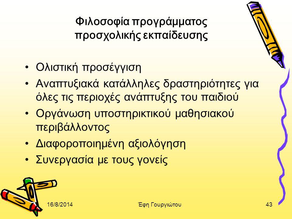 Φιλοσοφία προγράμματος προσχολικής εκπαίδευσης