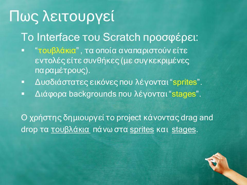 Πως λειτουργεί To Interface του Scratch προσφέρει: