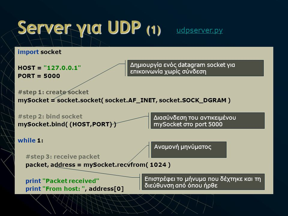 Server για UDP (1) udpserver.py import socket HOST = 127.0.0.1