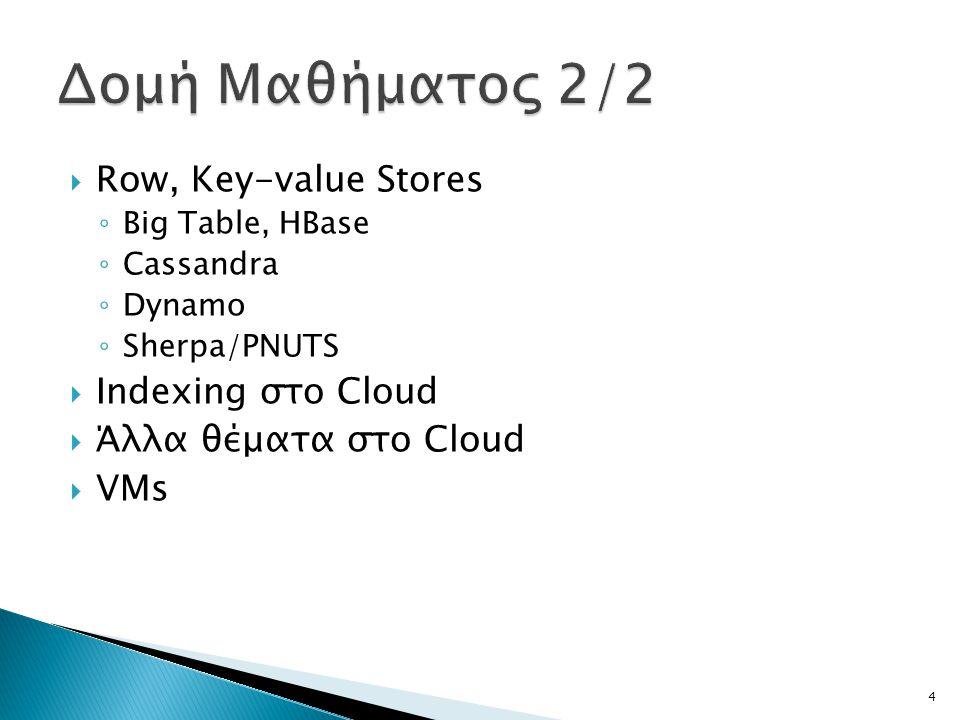 Δομή Μαθήματος 2/2 Row, Key-value Stores Indexing στο Cloud