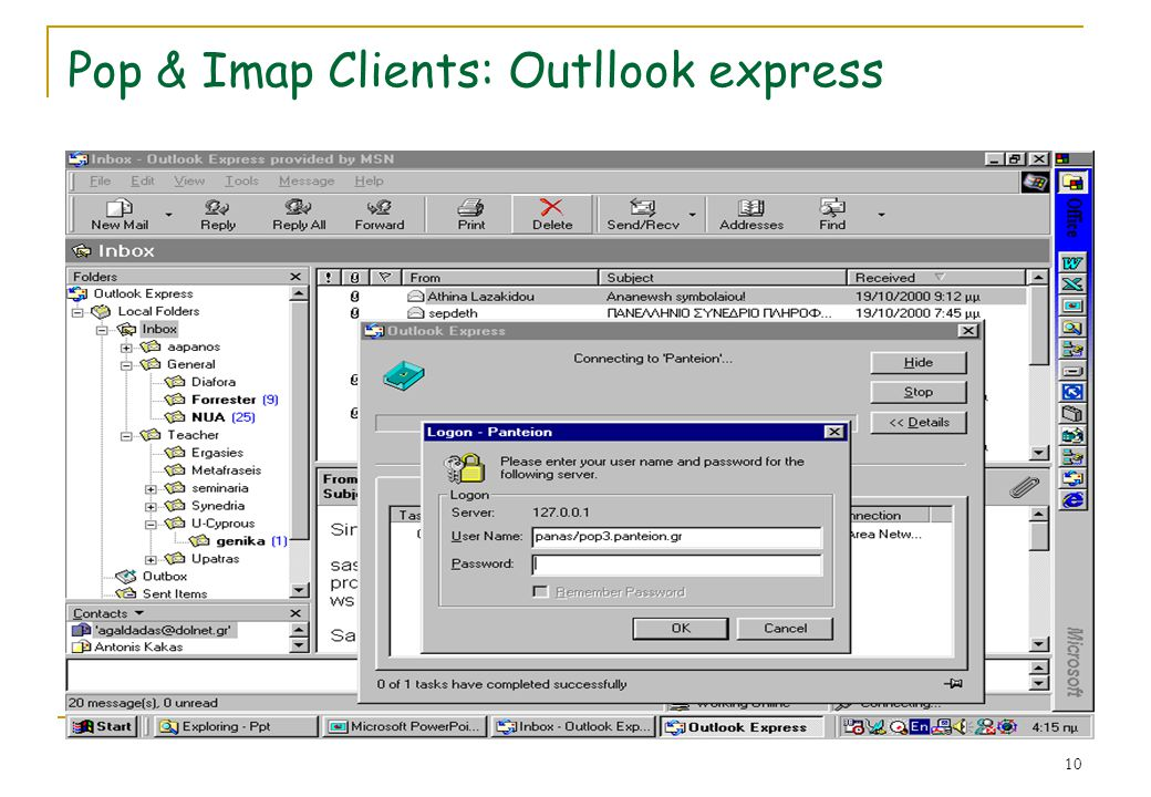 Pop & Imap Clients: Outllook express