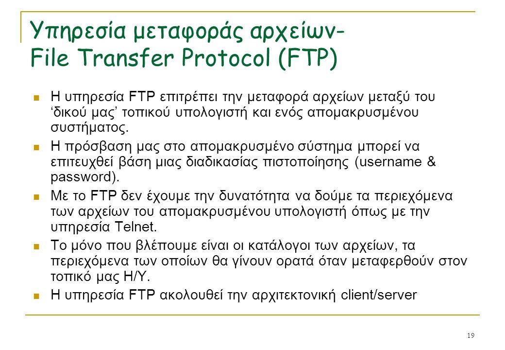 Υπηρεσία μεταφοράς αρχείων- File Transfer Protocol (FTP)