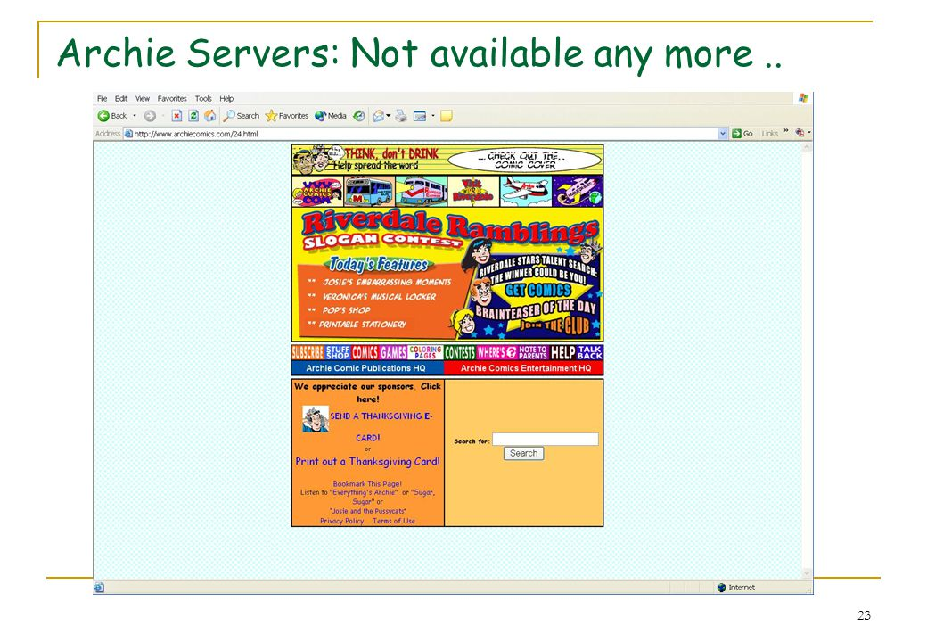 Archie Servers: Not available any more ..