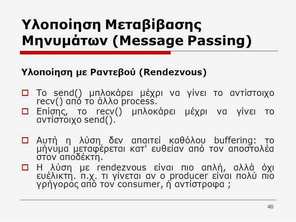 Υλοποίηση Μεταβίβασης Μηνυμάτων (Message Passing)