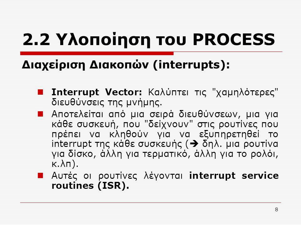 2.2 Υλοποίηση του PROCESS Διαχείριση Διακοπών (interrupts):