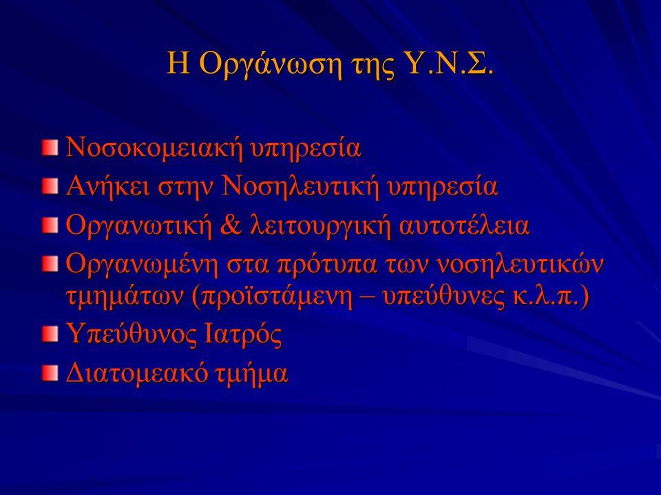 Η Οργάνωση της Υ.Ν.Σ. Νοσοκομειακή υπηρεσία