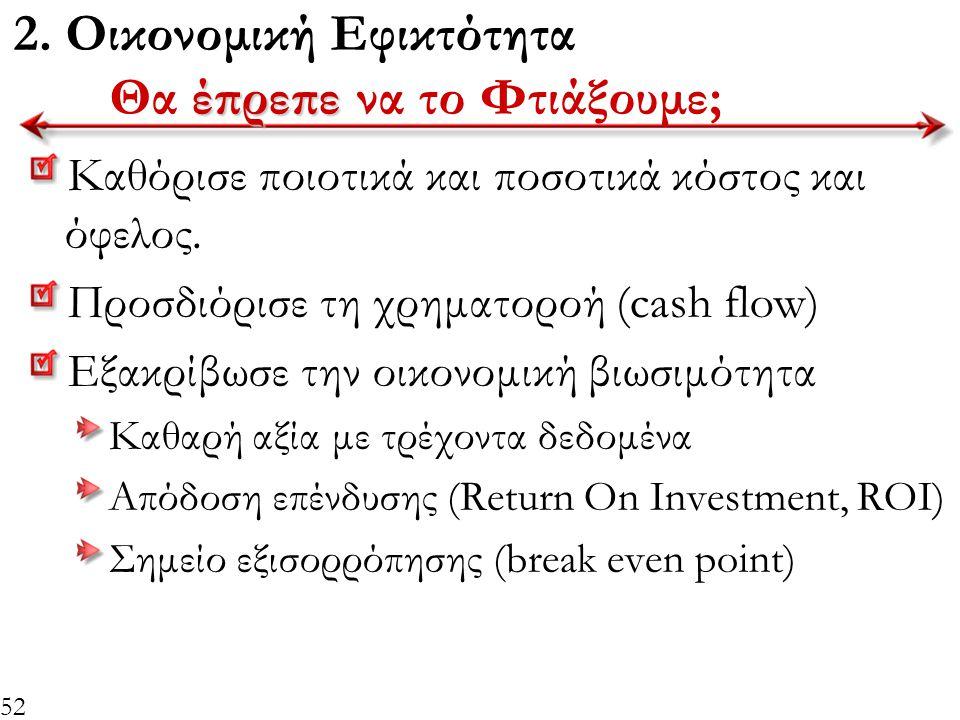 2. Οικονομική Εφικτότητα Θα έπρεπε να το Φτιάξουμε;