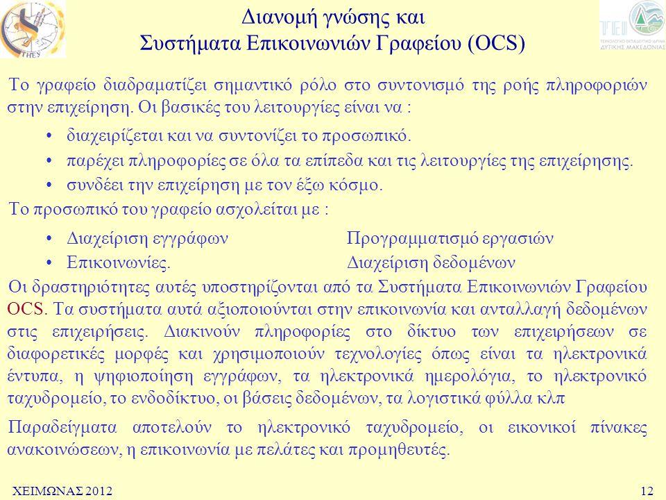 Διανομή γνώσης και Συστήματα Επικοινωνιών Γραφείου (OCS)