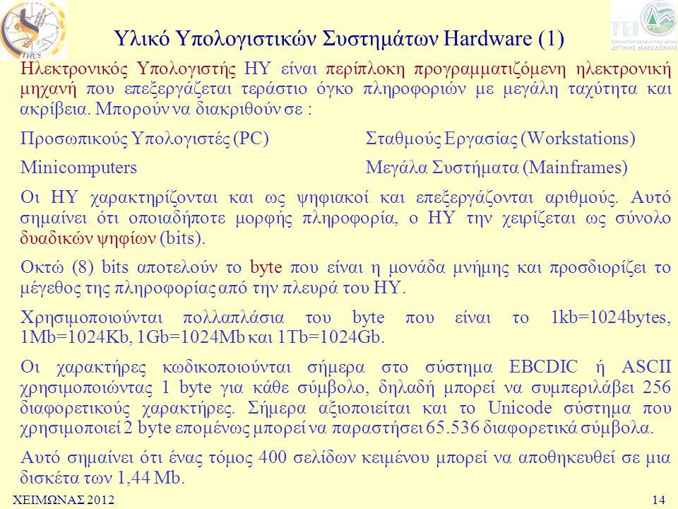 Υλικό Υπολογιστικών Συστημάτων Hardware (1)