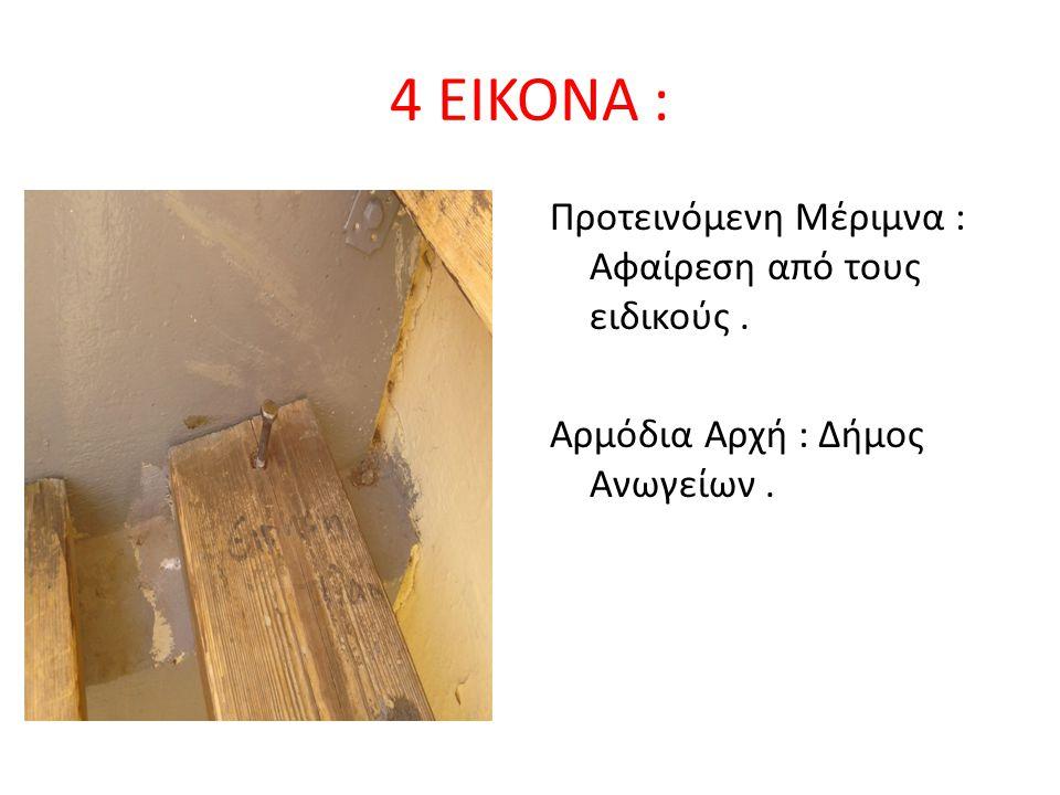 4 EIKONA : Προτεινόμενη Μέριμνα : Αφαίρεση από τους ειδικούς . Αρμόδια Αρχή : Δήμος Ανωγείων .
