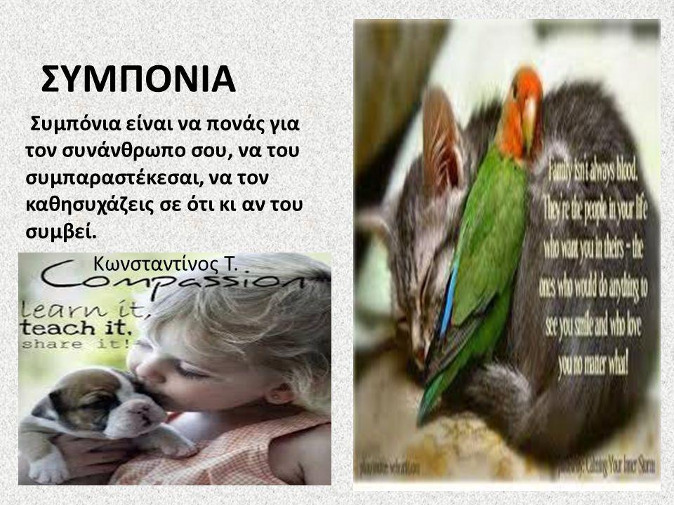 ΣΥΜΠΟΝΙΑ Συμπόνια είναι να πονάς για τον συνάνθρωπο σου, να του συμπαραστέκεσαι, να τον καθησυχάζεις σε ότι κι αν του συμβεί.