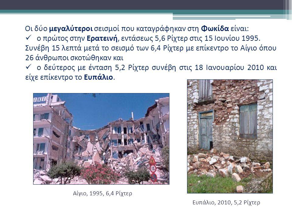 Οι δύο μεγαλύτεροι σεισμοί που καταγράφηκαν στη Φωκίδα είναι: