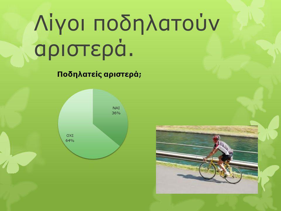 Λίγοι ποδηλατούν αριστερά.