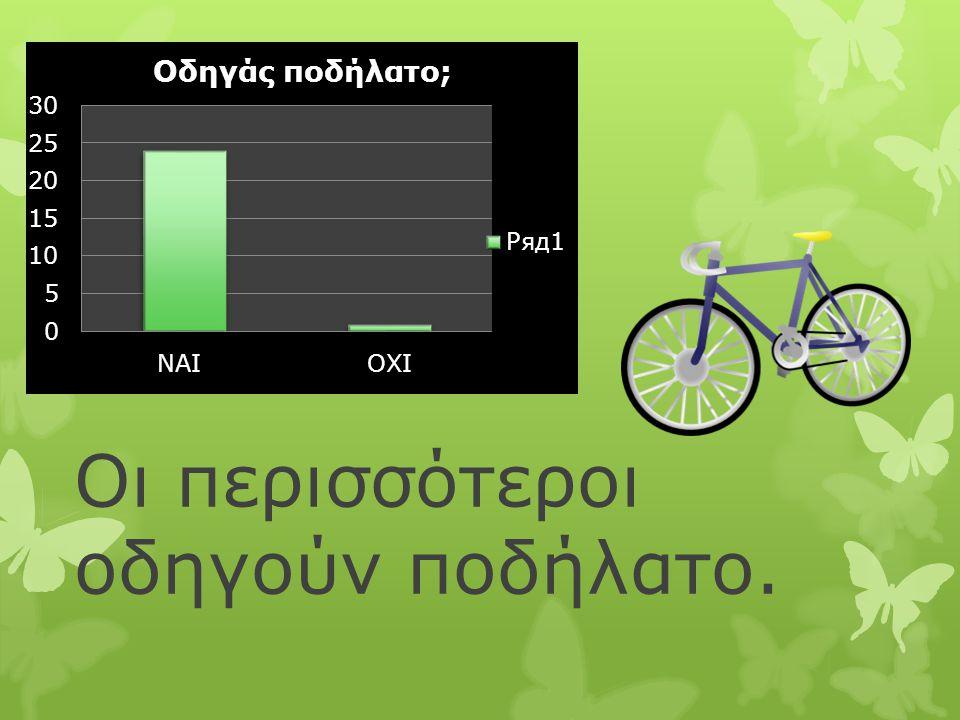 Οι περισσότεροι οδηγούν ποδήλατο.