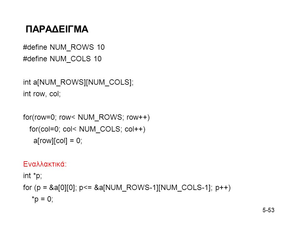 ΠΑΡΑΔΕΙΓΜΑ #define NUM_ROWS 10 #define NUM_COLS 10