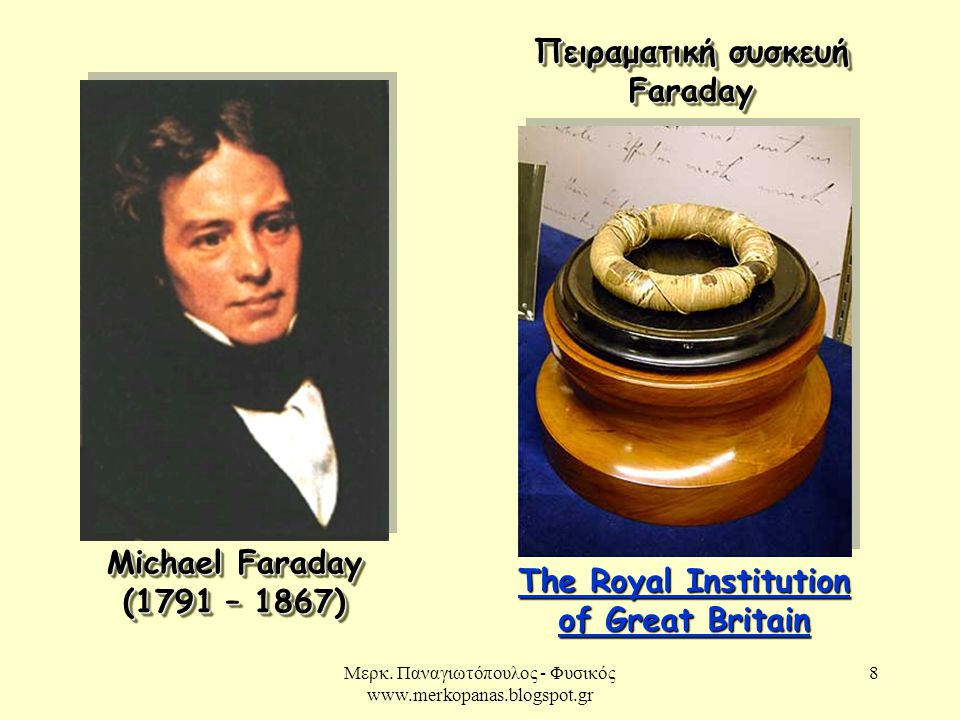 Πειραματική συσκευή Faraday The Royal Institution of Great Britain