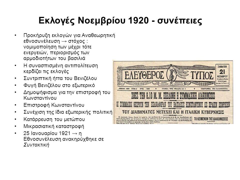 Εκλογές Νοεμβρίου 1920 - συνέπειες