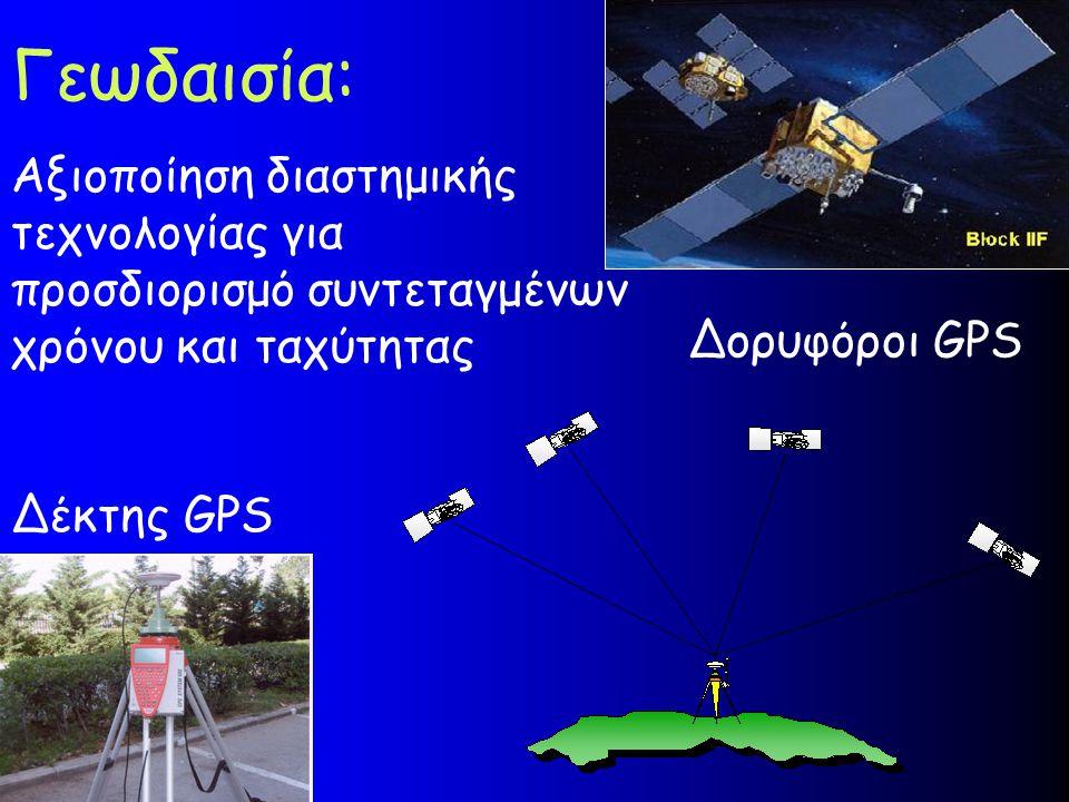 Γεωδαισία: Αξιοποίηση διαστημικής τεχνολογίας για προσδιορισμό συντεταγμένων χρόνου και ταχύτητας. Δορυφόροι GPS.