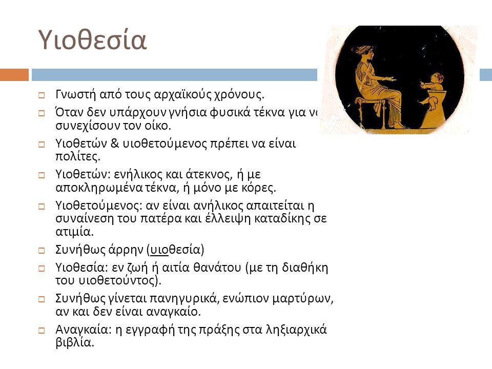 Υιοθεσία Γνωστή από τους αρχαϊκούς χρόνους.