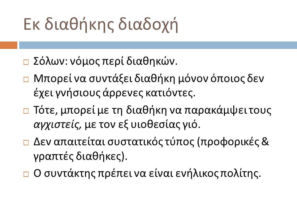 Εκ διαθήκης διαδοχή Σόλων: νόμος περί διαθηκών.