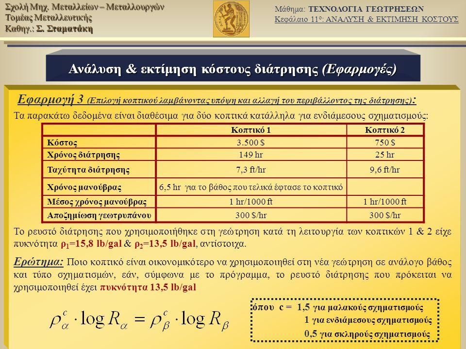 Ανάλυση & εκτίμηση κόστους διάτρησης (Εφαρμογές)