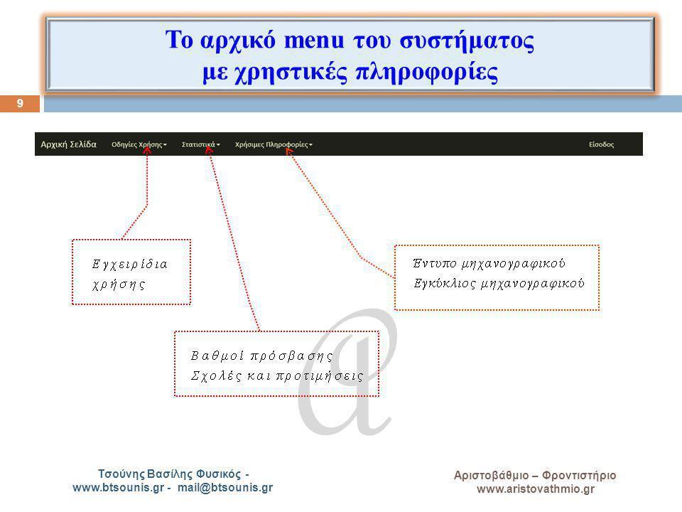 Το αρχικό menu του συστήματος με χρηστικές πληροφορίες