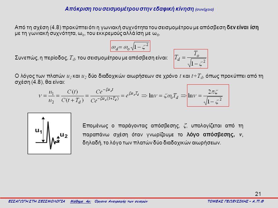 Απόκριση του σεισμομέτρου στην εδαφική κίνηση (συνέχεια)
