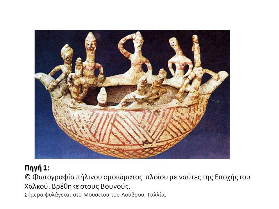 Πηγή 1: © Φωτογραφία πήλινου ομοιώματος πλοίου με ναύτες της Εποχής του Χαλκού. Βρέθηκε στους Βουνούς.