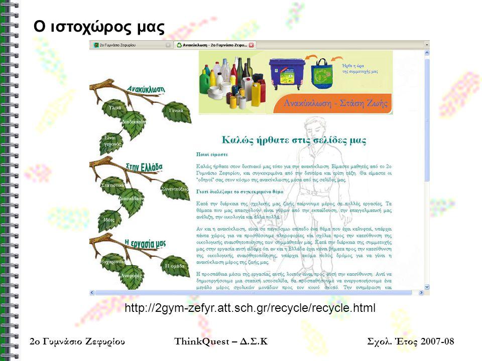Ο ιστοχώρος μας http://2gym-zefyr.att.sch.gr/recycle/recycle.html