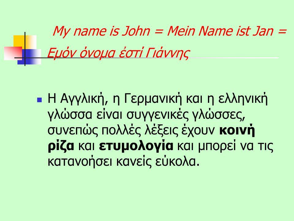 My name is John = Mein Name ist Jan = Εμόν όνομα ἐστί Γιάννης