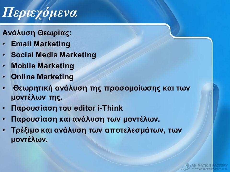 Περιεχόμενα Ανάλυση Θεωρίας: Email Marketing Social Media Marketing