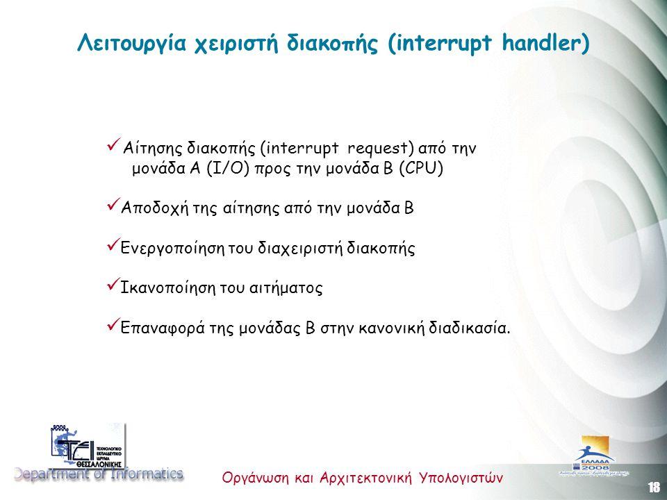 Λειτουργία χειριστή διακοπής (interrupt handler)