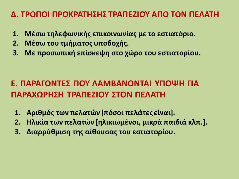Δ. ΤΡΟΠΟΙ ΠΡΟΚΡΑΤΗΣΗΣ ΤΡΑΠΕΖΙΟΥ ΑΠΟ ΤΟΝ ΠΕΛΑΤΗ