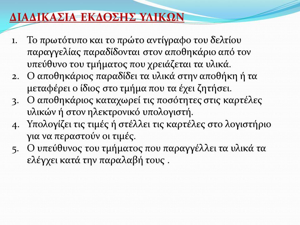 ΔΙΑΔΙΚΑΣΙΑ ΕΚΔΟΣΗΣ ΥΛΙΚΩΝ
