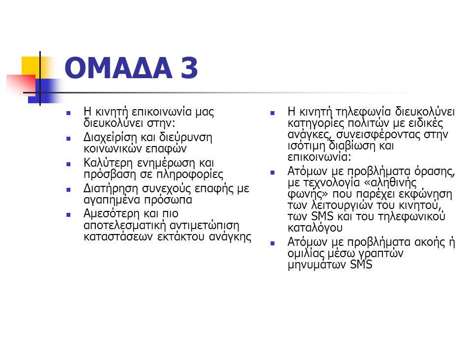 ΟΜΑΔΑ 3 Η κινητή επικοινωνία μας διευκολύνει στην: