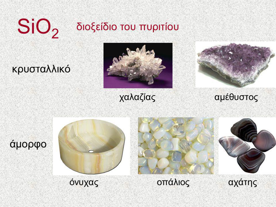 SiO2 διοξείδιο του πυριτίου κρυσταλλικό άμορφο χαλαζίας αμέθυστος