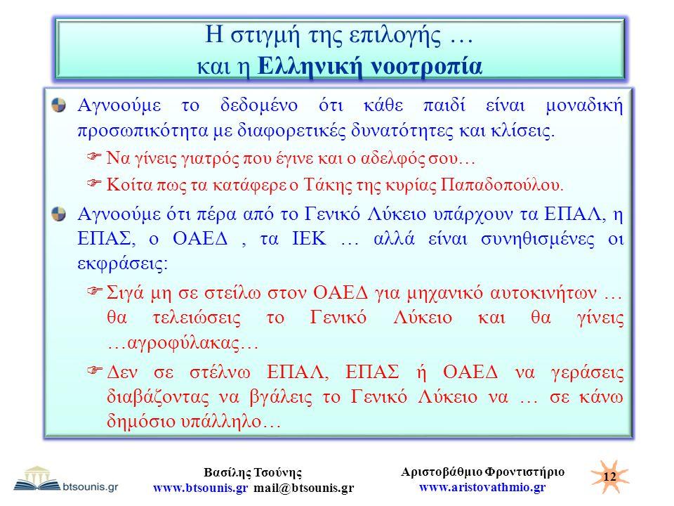 Η στιγμή της επιλογής … και η Ελληνική νοοτροπία